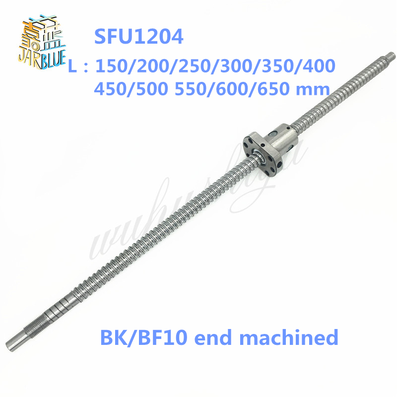 SFU1204 150 200 250 300 350 400 450 500 550 600 650 mm C7 ball screw with 1204 flange single ball nut BK/BF10 end machined garda decor тумба под телевизор