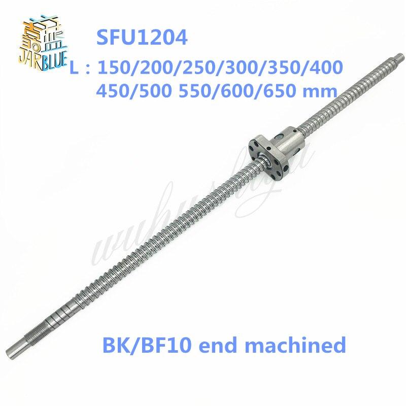 SFU1204 150 200 250 300 350 400 450 500 550 600 650mm C7 ball schraube mit 1204 flansch einzigen ball mutter BK/BF10 ende bearbeitet