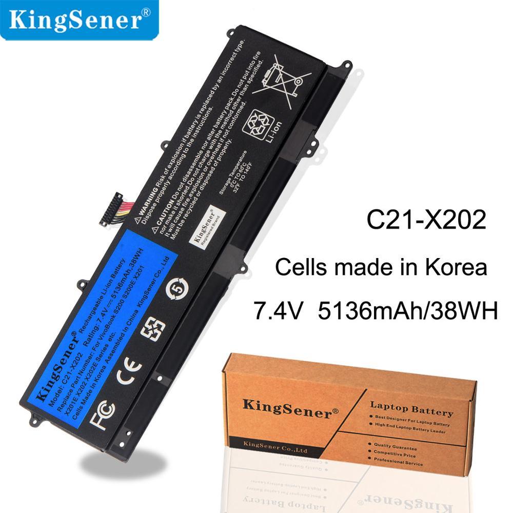 KingSener C21-X202 batterie d'ordinateur portable pour asus VivoBook S200 S200E X201 X201E X202 X202E S200E-CT209H S200E-CT182H S200E-CT1 5136 mAh