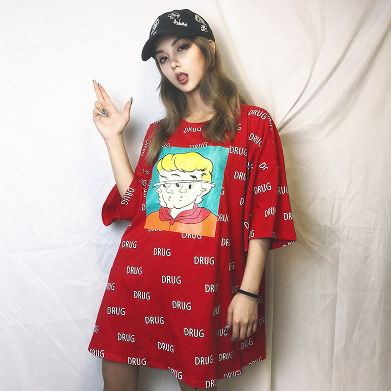 New summer Women s Clothing ulzzang korean hipster harajuku loose cartoon  letter print fashion brand casual T 6c6675b85efe