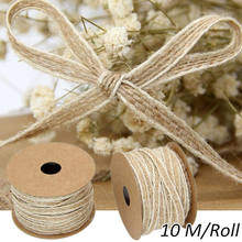 10m/Roll Vintage Jute Burlap Rolls Hessian Ribbon With Lace Rustic Wedding Decoration Ornament Party Wedding Decor H(China)