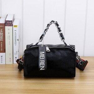 Image 3 - Женские кожаные сумки, новая сумка ведро из конского волоса с бриллиантами, меховая сумка на плечо с цепочкой, зимняя винтажная сумка мессенджер из Бостона