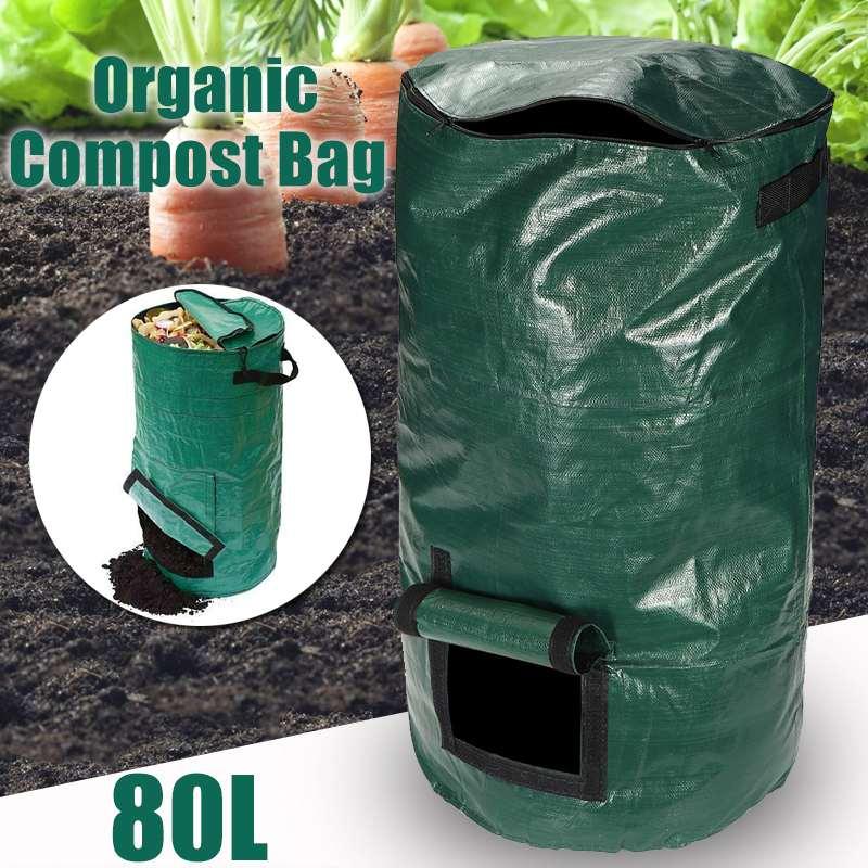 80L органических отходов кухня Сад Двор мешок для компоста портативный окружающей среды из полиэтиленовой Ткани Кашпо 45X80 см