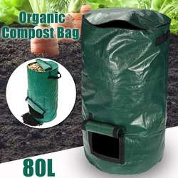 80L Organic Waste Kitchen Garden Yard Compost Bag Portable  Environmental PE Cloth Planter 45X80CM