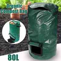 80L Organic Waste Kitchen Garden Yard Compost Bag Portable Environmental PE Cloth Planter 45X80CM