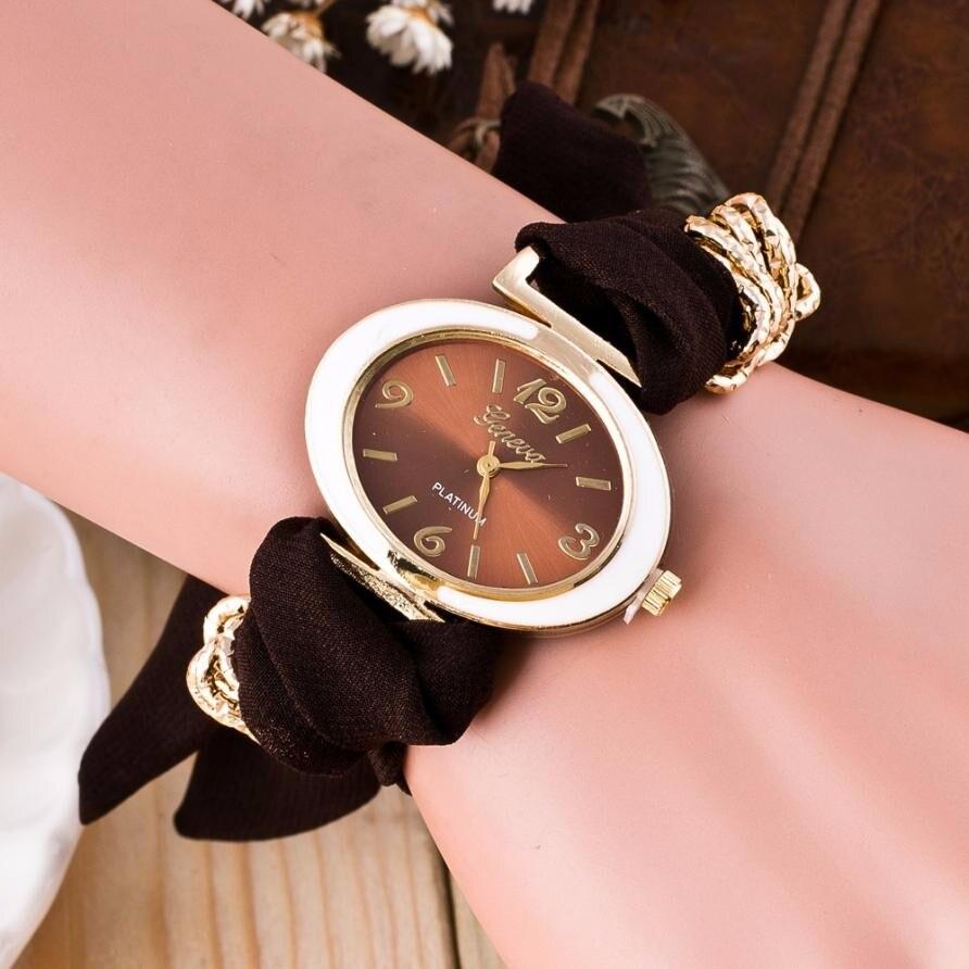 Fashion Clock Women Bracelet Watches Lady Fabric Bowknot Quartz Wrist Watch Woman Top Brand GENEVA Watch Relogio Reloj #N 1