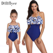 2019 Explosion Models Bikini Swimsuit Print Conjoined Double Ruffle Parent-child Swimsuit flower print ruffle swimsuit