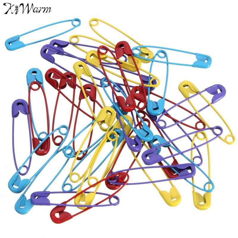 Ki Hangat 40 PCS 28 Mm Campuran Warna Logam Pin Pengaman Temuan Stitch Spidol Jahit Pins untuk DIY Marker Tag Membuat warna Acak