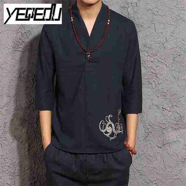 #4411 Vintage Casual Three Quarter Sleeve Linen T Shirts Men 5XL Embroidery V-neck High Quality Fashion Tee shirt homme Kimono