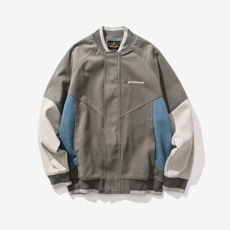 Printemps nouvelle veste hommes mode contraste couleur couture décontracté Baseball uniforme veste rue tendance sauvage Hip Hop Bomber veste