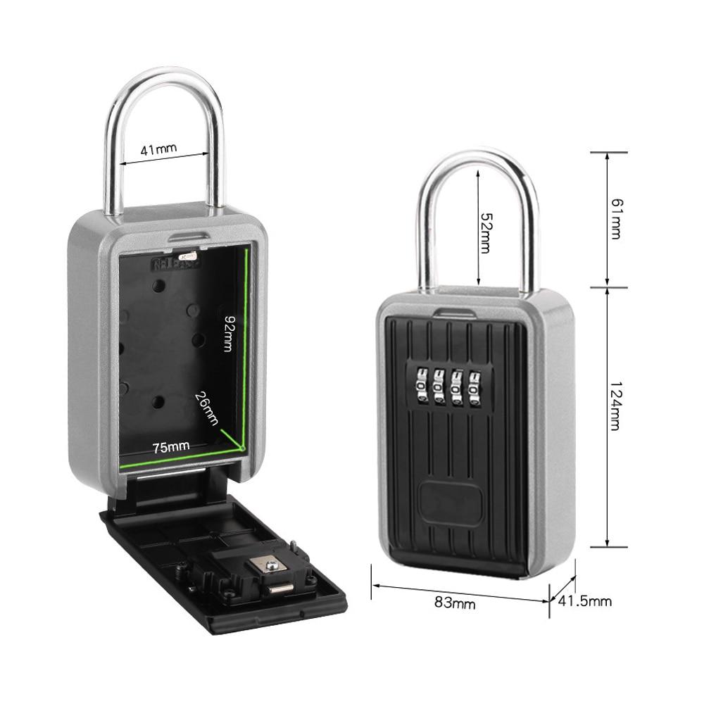 Outdoor 4 Digit Hanging Key Safe Storage Box Security Combination Lock Black
