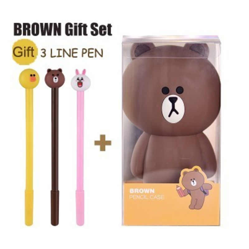 Cheng Pin Cartoon Pencil Case Container Kawaii Cute Silicone Brown Bear Rabbit 3D Pencil bag Bags Kids Toys Gifts Kids Decor
