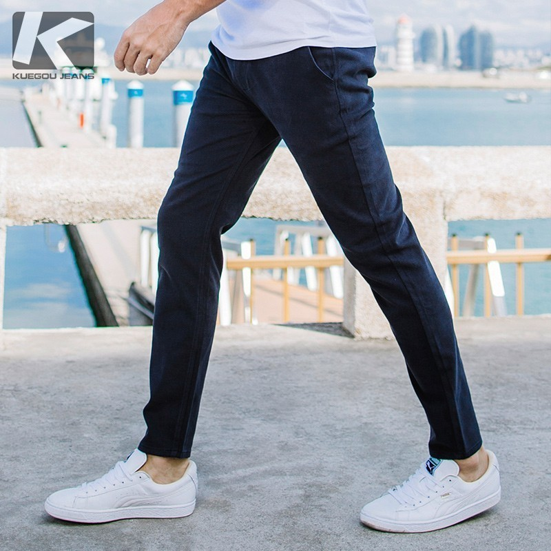 Autumn Men Casual Pants Cotton Solid Blue Color Pocket For Man Fashion Slim Fit 2018 New Male Wear Long Straight Trousers 2657