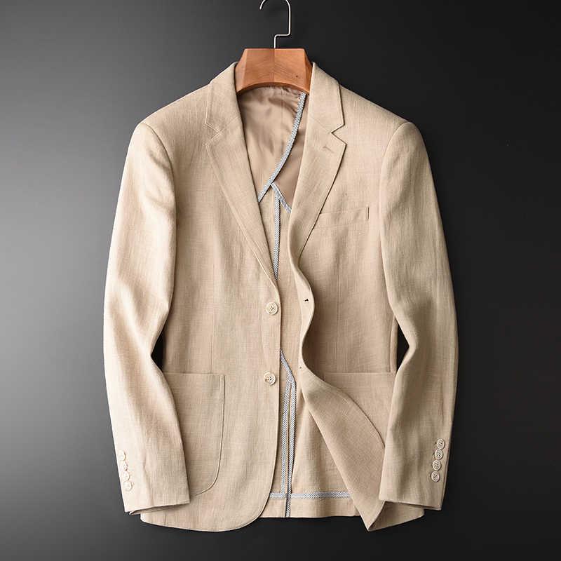MINGLU ブレザーマン新 90% リネン 10% 綿のスーツのジャケット春秋カジュアル男性シングルブレスト高品質サイズ M-4XL # HX1806