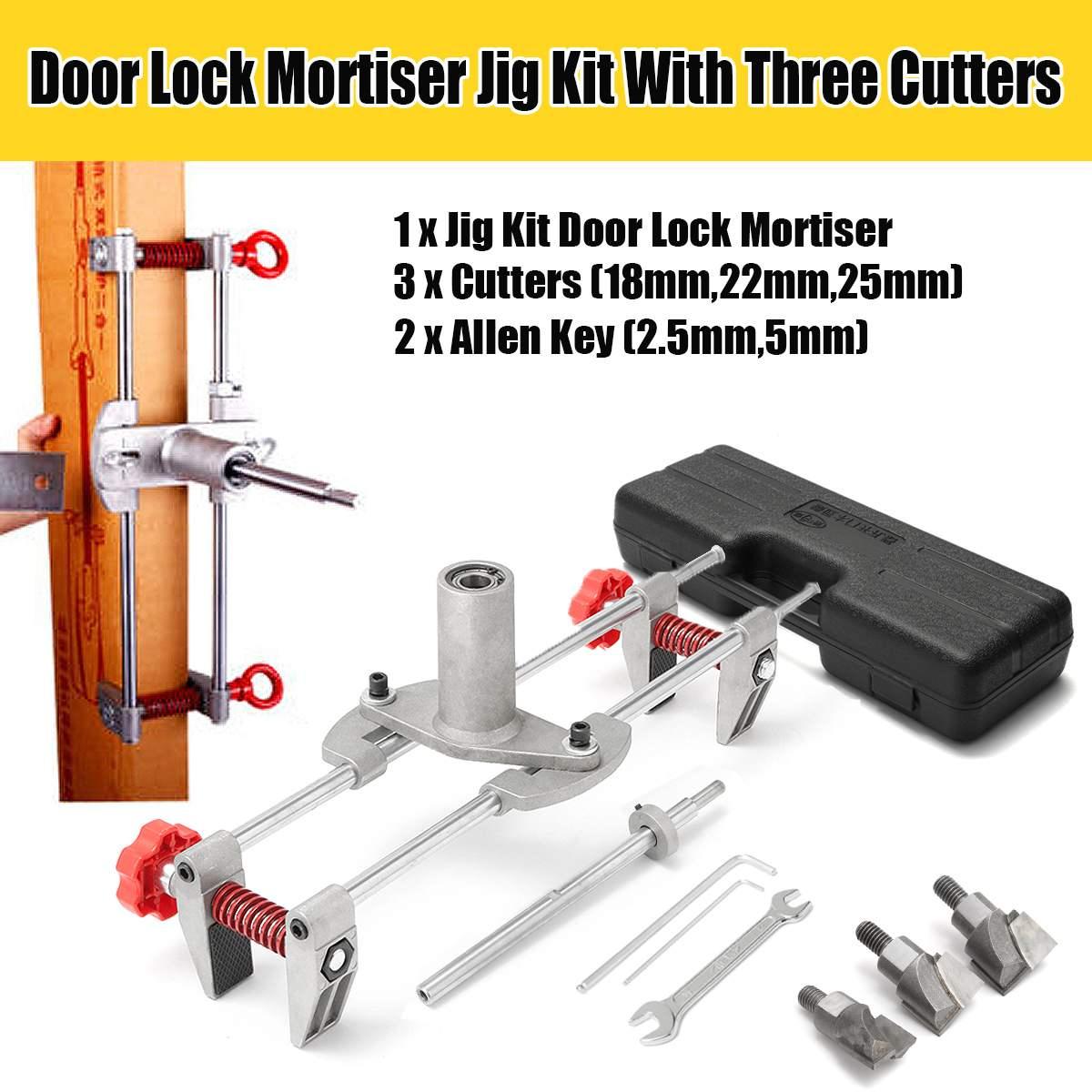 8 pièces Mortice porte raccord gabarit serrure mortaiseuse DBB clé JIG1 avec 3 coupeurs cas nouveau outil entretien ensemble