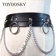 2019 Brand Cool Tide Women Sexy Belts female Fashion Gothic Punk Rock Metal Circle Ring Chain Designer Waist Ins TOYOOSKY