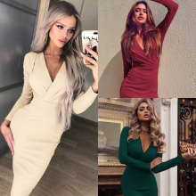 Women Deep V Neck Wrap Ruched Dress Fashion Long Sleeve Nightclub the Cocktail party Elegant Ladies Plus Size