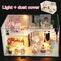 Doll House Miniature With Furnitures Wooden Anna's Pink Melody Spiral Staircase DIY Dollhouse Toys For Kids Christmas Gifts