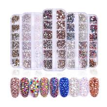 1440 pcs Glass Nail Rhinestones For Nails Art Decorations Colorful Crystals Strass Charms Mixed Size Set with Storage Box