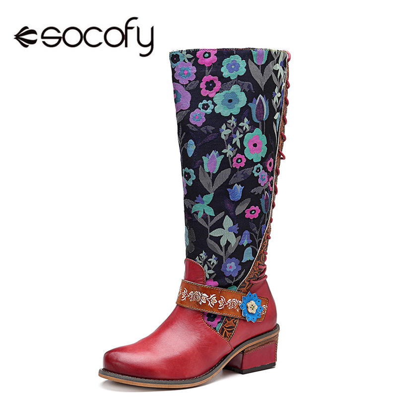 Socofy Retro Printed Flower Cowgirl Boots Women Shoes Woman Genuine Leather Mid-calf Boots Winter Bohemian  Botas Mujer