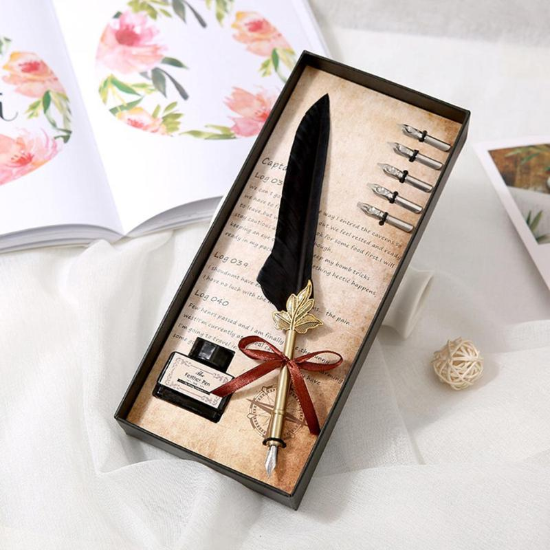 Retro Calligraphy Feather Dip Pen Writing Ink Set Vintage Quill Pen Fountain Pens Stationery Gift Box Birthday Gifts Wholesale