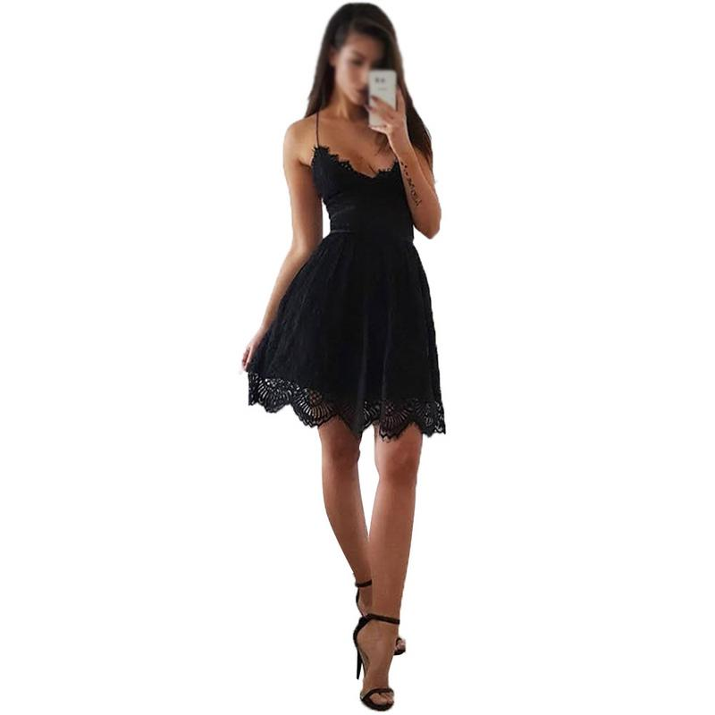 Sexy Party Dress Women Summer Deep V Neck Backless Lace Dresses Fashion Sleeveless Halter Bandage Mini Skirt