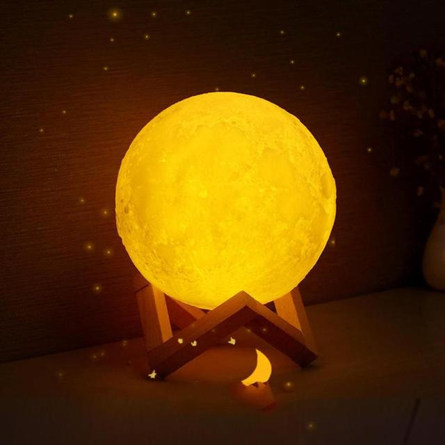 Rechargeable  3D Print LED Moon Lamp 16-Color Remote Control Night Light Bedroom Home Decor Creative Gift Night Light