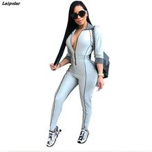 Laipelar 2018 Autumn Winter Women Zipper Bodycon Jumpsuit Long Sleeve Sexy Bodysuit Skinny Casual Overalls Rompers