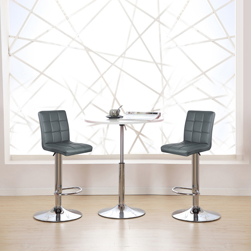 NEW Arrival 2PCS/Set Adjustable Gas Lift Bar Stools 9 Grid Grey PU Leather Swivel Bar Chairs Height Counter Pub Chair HWC