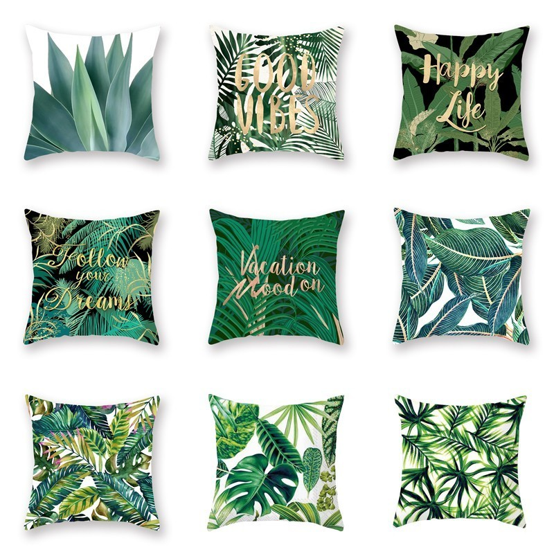 Green Plants Printed Casual Cushion Cover Square Polyester Home Decor Pillow Case Couch Chair Rest Pillow Case
