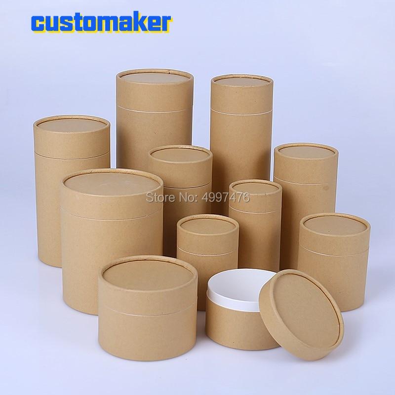 50pcs Customized  Logo Kraft Paper Can Gift Can Dry Fruit Storage Tank  Food Packaging Boxes Tea Tins Gift  Jar Present Pot