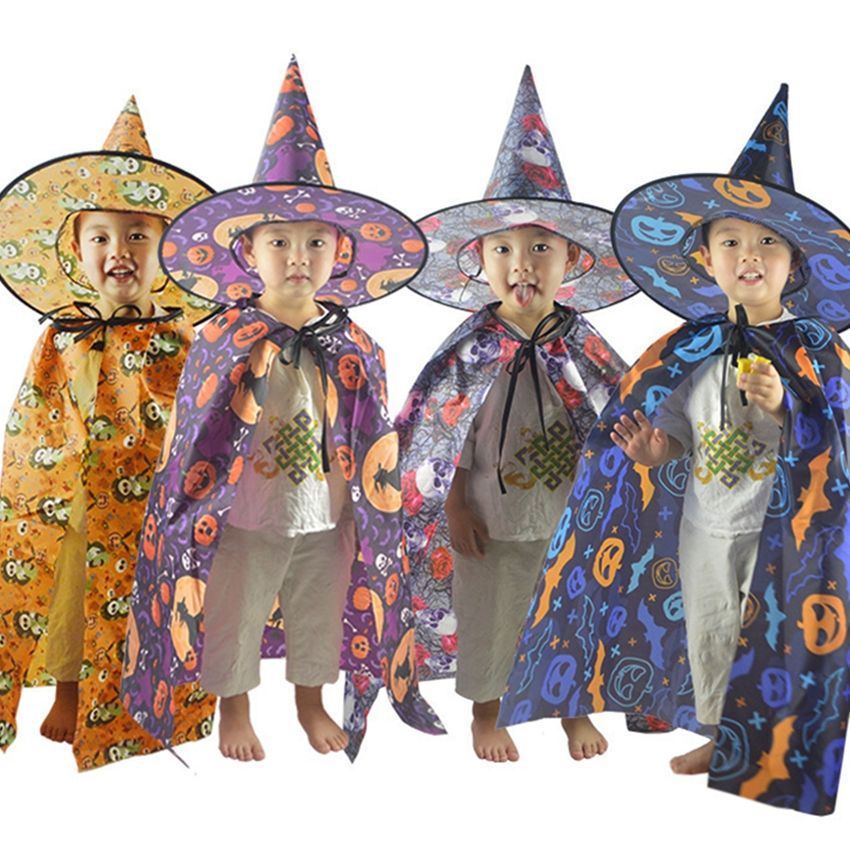 85-150CM Halloween Costumes for Kids Candy Witch Elf Toddler Cosplay Girl and Boy Party Vampire Clothes Cloak+Cap New Year Gift