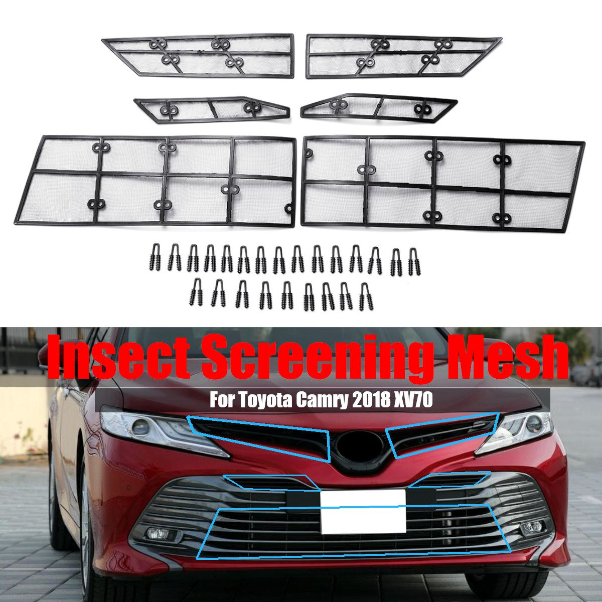 6Pcs/Set Car Front Insect Screening Mesh Net Grille Steel Wire For Toyota Camry 2018 8th XV706Pcs/Set Car Front Insect Screening Mesh Net Grille Steel Wire For Toyota Camry 2018 8th XV70