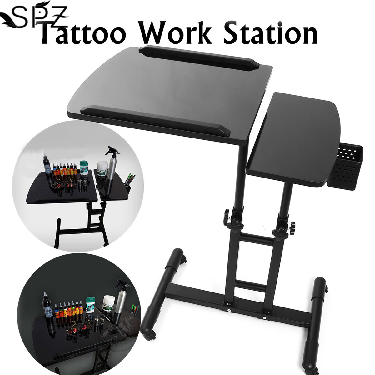 65-97cm Black Adjustable Tattoo Work Desk Table Multifunctional Tattoo Tracing Drawing Tattooist Work Station Stand Portable