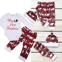 25f298618e0ffe Hot Koop 3 stks Pasgeboren Baby Jongen Meisje Mijn Eerste Kerst Brief Lange  Mouwen Bodysuit Romper Tops Print Broek Hoed outfit .