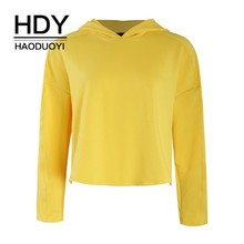 HDY Haoduoyi 2019 Girl Simple Style Street Easy Short Jacket Long Sleeve Solid Color