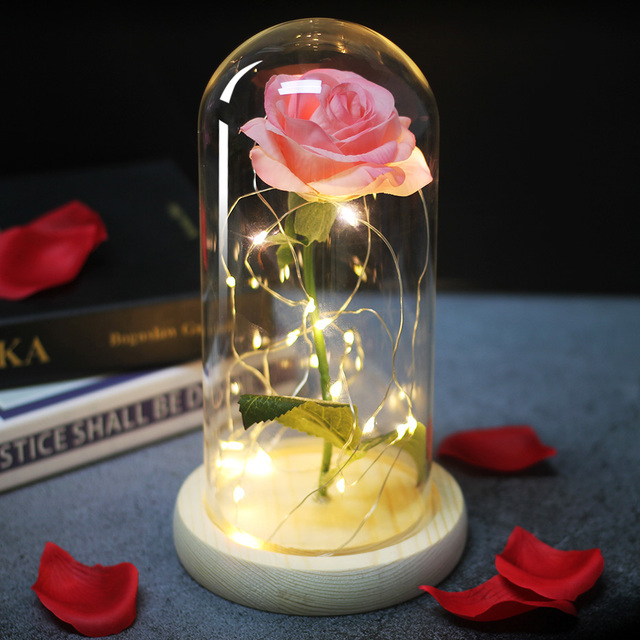 Artificial flowers Eternal Rose LED Light Beauty The Beast In Glass Cover Wedding Home Decor For Birthday Mother Day Gift 3