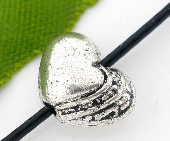 Inventive 50 Pcs Silver Tone Valentine Heart Tiny Spacers Beads 7x10mm Jewelry & Accessories b04853 Beads