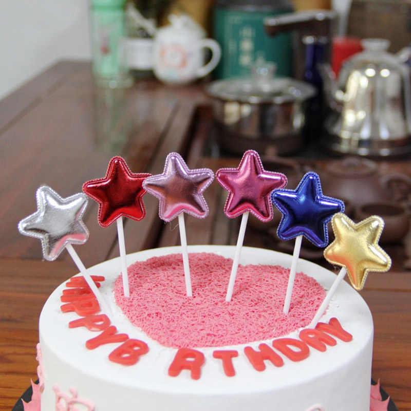 6 יח'\חבילה אהבת כוכב כתר Cupcake Toppers לחתונה מסיבת יום הולדת קישוט אפיית עוגת קינוח למעלה דגלי TS006