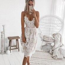 Sexy Strap Hollow Out White Lace Women Dress Deep V Neck Crisscross Backless Summer Dresses Elegant Halter Party Dress tropical print crisscross halter dress