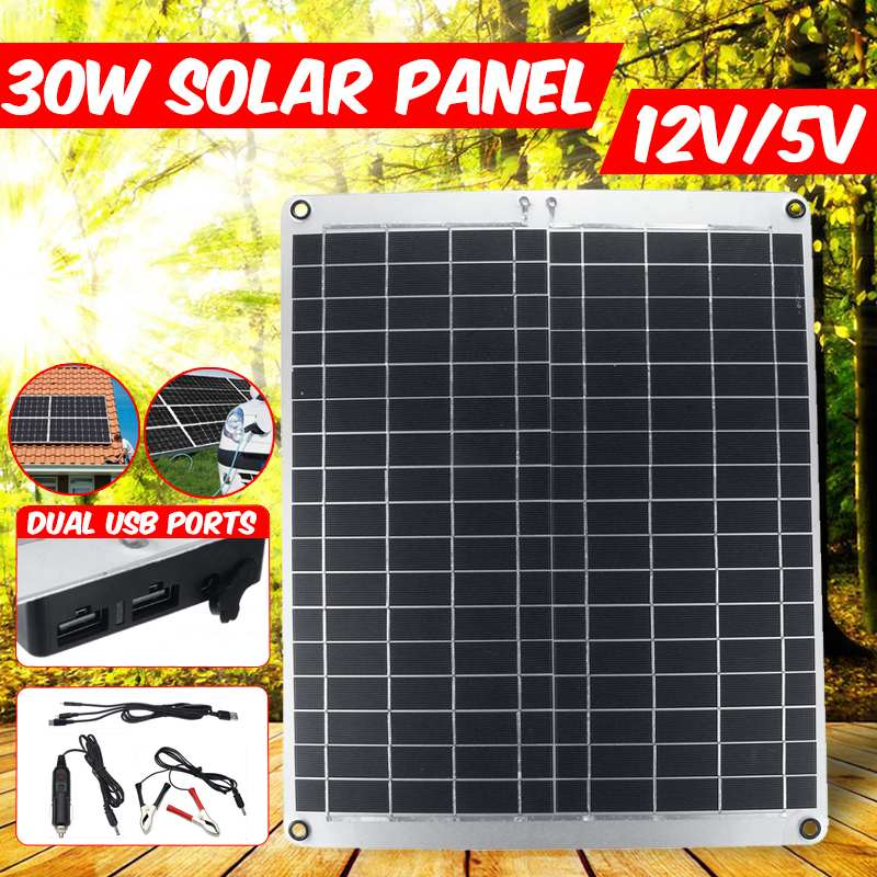 LOERY 12V 30W Waterproof Solar Panel USB Monocrystalline Solar Panel with Car Charger for Outdoor Camping Emergency Light