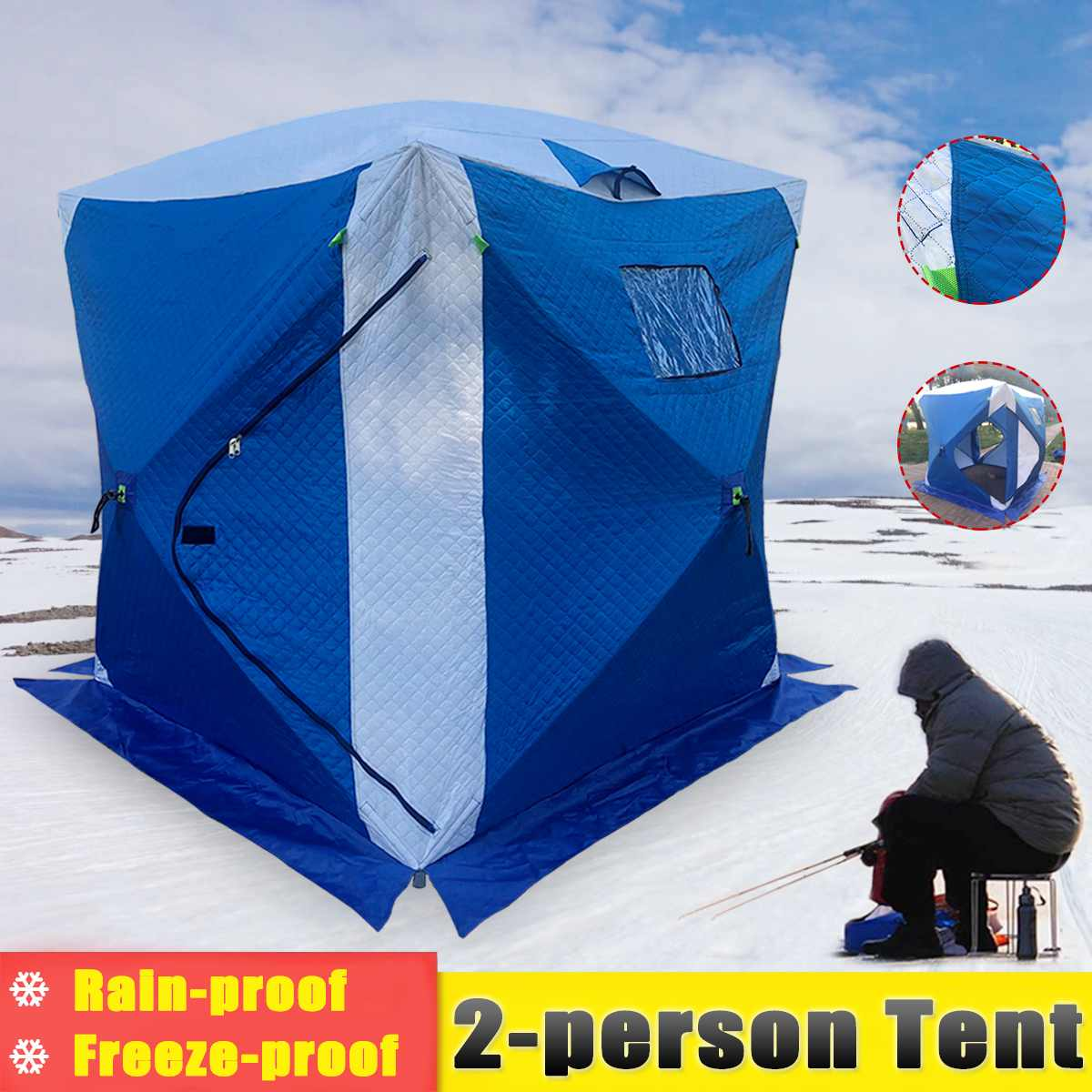 2 Person Waterproof Ice Fishing tent 210D Thickening Oxford Fabric Winter Tent Night Shelter Tent Shanty Window Carrying Bag