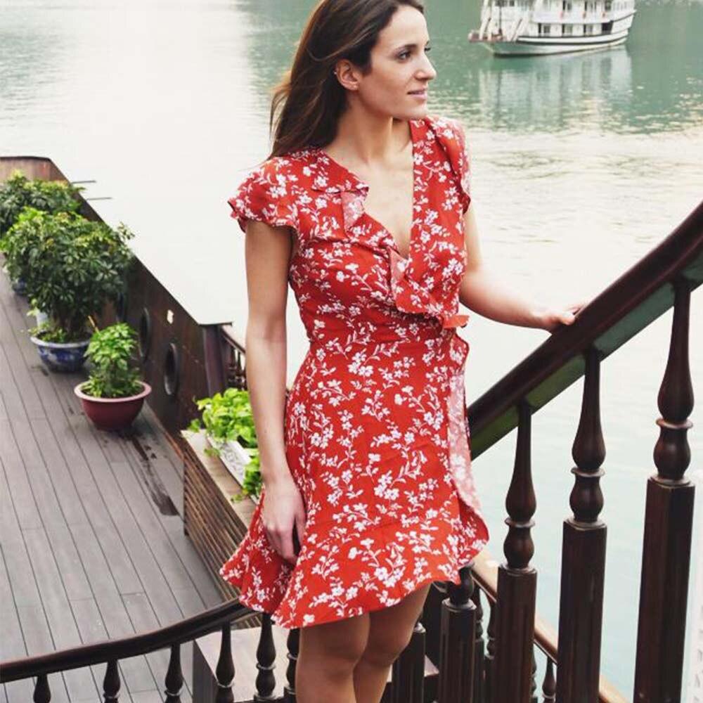 ce685db6aa3d3 AZULINA Floral Ruffles Wrap Dress Women Boho Summer Dress V Neck Casual  Beach Dress Vestidos De Fiesta New Fashions Robe Femme