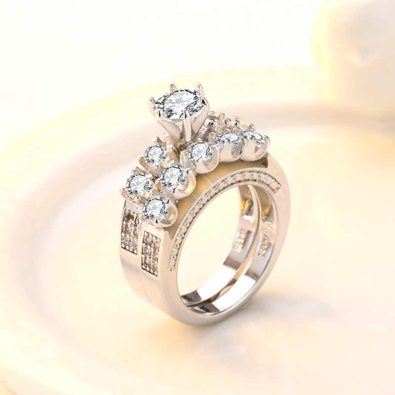 Классическое кольцо из белого золота 18 К, украшенное бриллиантами, кольцо Anillos De Wedding, брендовые кристаллы аметиста, ювелирные изделия для женщин Bizuteria