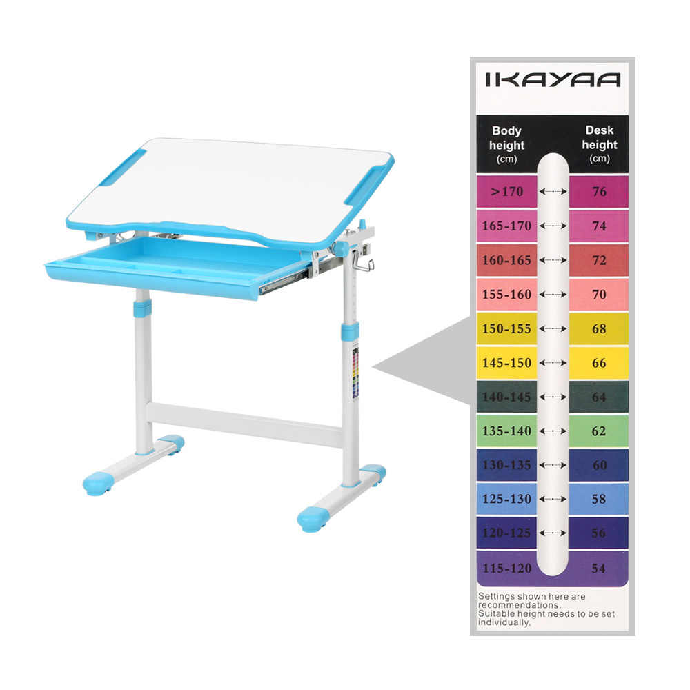 iKayaa Height Adjustable Kid's Study Desk Chair Set Paper Roll Holder 0-40 Tiltable Children Activity Art Table Set Metal Frame