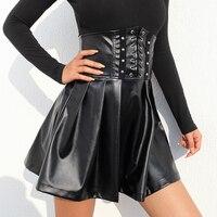 Women Black Pleated Skirt PU Leather Skater PVC High Waist Bandage Cross Lace Up Party Club Steam Punk Gothic Harajuku Vintage