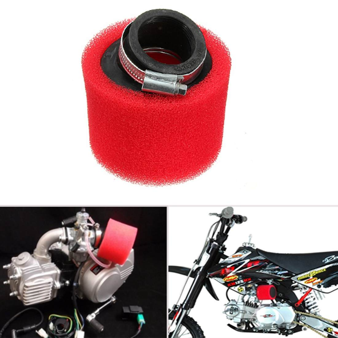 38mm 40mm ATV PIT DIRT BIKE 45 Degree ANGLED FOAM Air Filter Cleaner 110cc 125cc RED CRF50 XR50 CRF image
