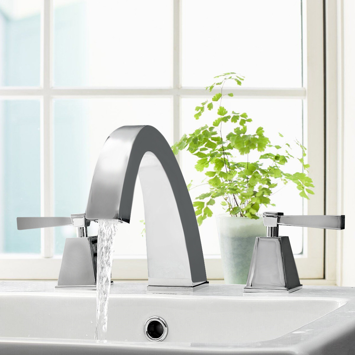Chrome Double Handle Two Holes Bathroom Faucet Modern Vessel Sink Mixer Tap Hot and Cold Decked Mounted 3pcs SeparatingChrome Double Handle Two Holes Bathroom Faucet Modern Vessel Sink Mixer Tap Hot and Cold Decked Mounted 3pcs Separating