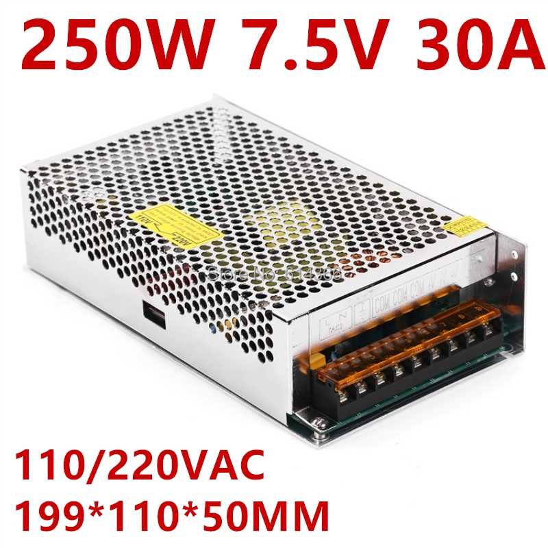 1PCS Best quality 7.5V 30A 250W Switching Power Supply Driver for LED Strip AC 100-240V Input to DC 7.5V 1pcs 3v 12a 60w switching power supply 3v 12a driver for led strip ac dc 100 240v input to dc3v s 60 3