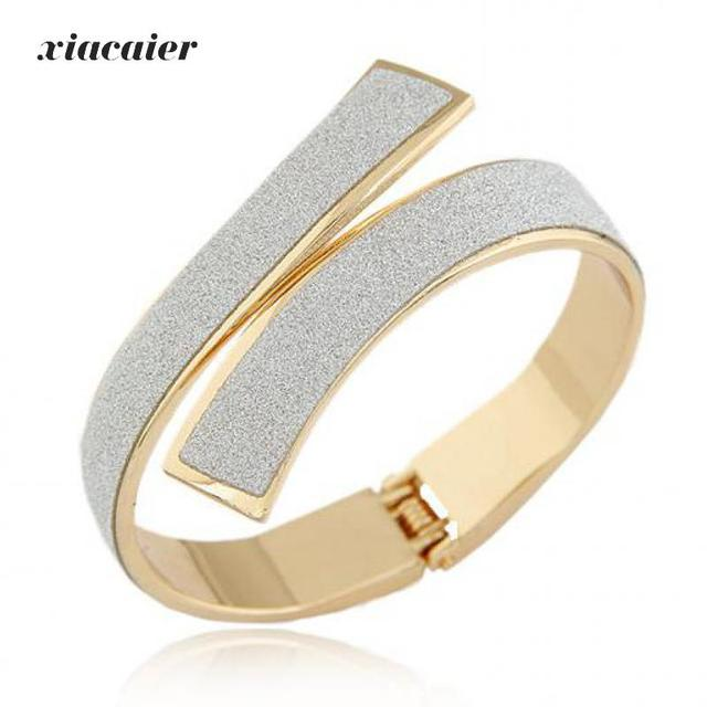 xiacaier Bracelet Bangle Gold Color Wide Cuff Bracelets Bangles For Women Jewelry Silver Plated Bracelet Femme Pulseiras Bijoux